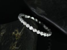 Petite Bubbles 14kt White Gold Bezel Diamonds Eternity Band | rosadosbox - Jewelry on ArtFire