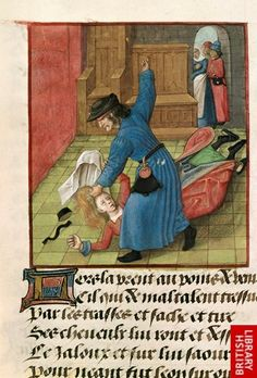 Jealous husband (1490-1500).   Detail of a miniature of a jealous husband beating his wife until her hair and clothes fly about, while spectators watch from the doorway.   Origin: Netherlands, S. (Bruges) Note the ring mouthed pouch and the girdle pouch on the chap in the background.