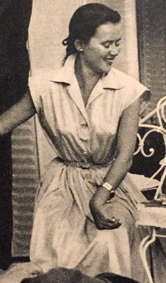 Christian Dior Boutique- 1951 Blue poplin dress. Elle No. 296- July 30, 1951