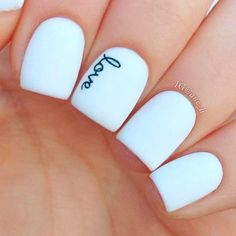An amazing idea would be to have the name of your husband on your ring finger when you are getting married. He will see it when placing the ring on your finger.love these nails Gorgeous Nails, Love Nails, How To Do Nails, Fun Nails, Dream Nails, Really Cute Nails, Perfect Nails, Pretty Nail Art, Cute Nail Art