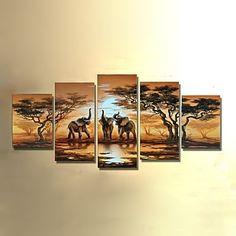 handgeschilderde+moderne+abstracte+olifant+zonsondergang+Afrikaanse+landschap+olieverf+op+doek+5pcs+/+set+zonder+frame+–+EUR+€+41.44