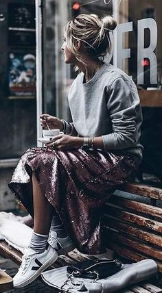 sweatshirt + sequin skirt + sneakers. street style.