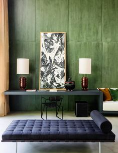 Sage green wood walls | Mid Century Furnishings