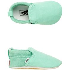 Vans Baby Slip-On Crib Shoe ($25) ❤ liked on Polyvore featuring shoes, aqua, pull on shoes, slipon shoes, blue slip on shoes, vans shoes and waffle shoes