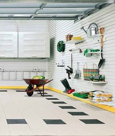 With TekPanels by garagetek.com, the entire wall is finished with slotted plastic panels that hold lock-in hooks, shelves, and cabinets so that every square inch of wall space can be put to use. Some systems must be installed by trained professionals, adding to the cost.