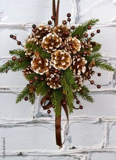 diy kissing ball with pine cones crafts unleashed within pinecone christmas crafts Christmas Pine Cones, Rustic Christmas, Simple Christmas, Christmas Wreaths, Christmas Ornaments, Diy Christmas, Pinecone Christmas Crafts, Christmas Decorations Pinecones, Primitive Christmas