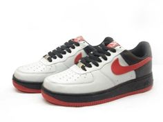 Chaussures Nike Air Force One Blanc/ Noir/ Rouge - : Nike Chaussure Pas Cher ,Nike Blazer and Timerland