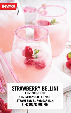 Sip on delicious summer cocktail with this recipe for a Strawberry Bellini. Simply grab a bottle of your favorite prosecco or sparkling wine from BevMo!, strawberry syrup, sliced strawberries, and pink sugar to get started creating such a perfect drink for girls-night!