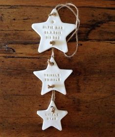 Twinke Twinkle: three star clay decoration with by TwoAndBoo The post Personalised new baby gift / clay star / Twinkle Twinkle / nursery decoration / nursery decor appeared first on Kinderzimmer Dekoration. Clay Christmas Decorations, Christmas Clay, Baby Crafts, Christmas Crafts, Christmas Lyrics, Family Christmas Ornaments, Homemade Christmas, Salt Dough Crafts, Salt Dough Ornaments