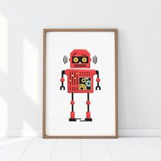Boys Bed Canopy, Vintage Robots, Cool Robots, Kids Poster, Nursery Prints, Paper Background, Kids Room, Room Decor, Wall Art