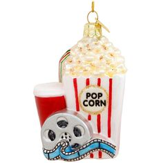 Popcorn And Movie Glass Ornament $11.99