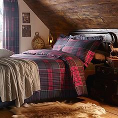 Exclusive! Follow one of the key trends this season with our new and exclusive Highlands tartan range, available in winter warm colours. Duvet set comprises of duvet cover and pillowcase(s), one with the single and two with the double, king and super king. #Bedroom #Home #Kaleidoscope