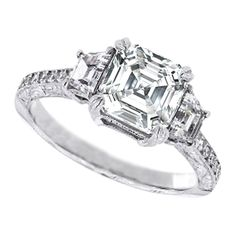 Three Stone Asscher Cut Diamond Engagement Ring with Trapezoids 0.85 tcw.