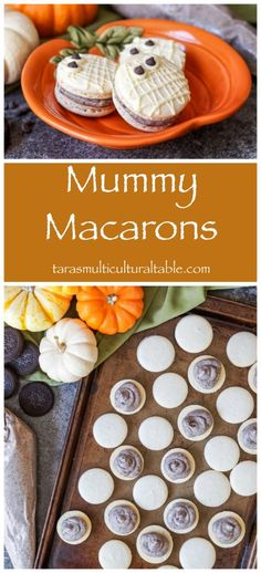 Recipe for Mummy Macarons with a Cookies and Cream Buttercream and an overview of our visit to Disneyland during Halloween Time. Frozen Desserts, Fun Desserts, Dessert Recipes, Pie Recipes, Fall Recipes, Holiday Recipes, Cookie Recipes, Delicious Donuts, Delicious Desserts