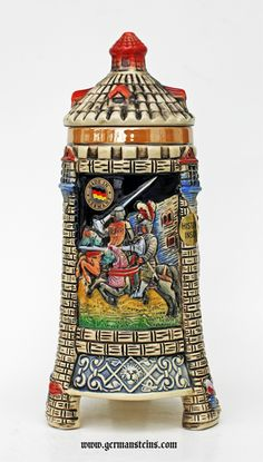 Medieval Tower Beer Stein with Stoneware Lid - Northcote Imports, LLC