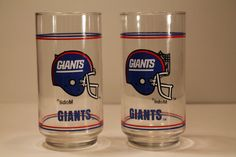 Vintage Pair of New York Giants Drinking Glasses NFL on Etsy, $25.00