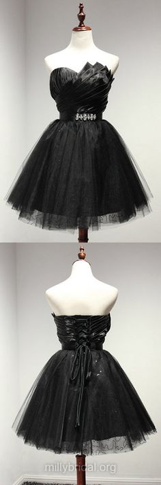 Girls Black Prom Dresses ,A-line Sweetheart Short Homecoming Dress,Tulle Short/Mini Cocktail Dress,Sashes / Ribbons Formal Party Gowns