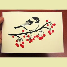 Cutting Edge Stencils - Little Birdie Stencil  This is a great stencil design for the holidays.
