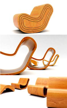 Magic Chair by Puur Design Studio. Designed by Dripta Roy, this four part chair works off a similar principle to the Russian nesting dolls. With their slightly diminishing sizes each layer nestles perfectly in the next to create one seamless bentwood chair. When undone, the user is left with three individual chairs with the inner most layer acting as a foot stool.