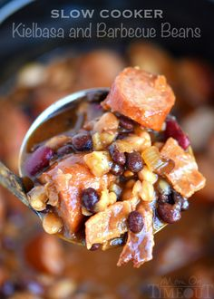 Slow Cooker Kielbasa and Barbecue Beans is the perfect chilly day recipe! Made with three types of beans, molasses, bacon, and kielbasa - pure comfort food!