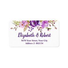 Watercolor Purple Violet Floral Address label
