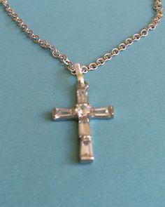 Silver and CZ Crystal Cross Necklace by joytoyou41 on Etsy, $25.00