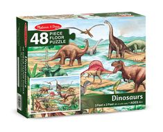 Interest in dinosaurs will never become extinct! Meet some favorites while completing this colorful cardboard puzzle. x when assembled, the 48 extra-thick pieces feature an Easy-Clean surface to keep this exciting puzzle looking like new. Dinosaur Age, Dinosaur Gifts, Lego Dinosaur Sets, Cardboard Box Crafts, Thick Cardboard, Cardboard Castle, Lego Coast Guard, Wooden Rainbow, Floor Puzzle
