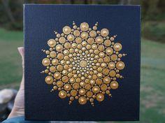 Dot Mandala Painting Gold Star Art on Wrapped by LaBellaArtigiana