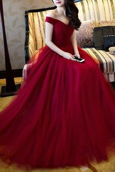 Red Off-the-Shoulder A-line Tulle Prom Dresses 2017