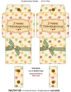 Printable Tea Bag Packet Envelope, Happy Thanksgiving Holiday digital instant download by EmptyNesterCrafts on Etsy Diy Tea Bags, Minis, Christmas Baskets, Scrapbooking, Scrapbook Paper, How To Make Box, Thank You Gifts, Fun Gifts, Happy Thanksgiving