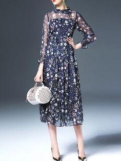 Printed/Dyed Chiffon Midi Dress