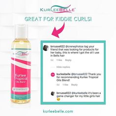 """Kurlee Tropical Oils Blend is made from Oils like Castor Oil, Jojoba Oil, Moringa Oil and Avocado Oil! It seals in moisture for shinier more manageable curls! Perfect for kiddie and mom's curls! 🌀🌀🌀  Now available at www.kurleebelle.com, Amazon.com, Your local #Walmart in Florida, Georgia and Texas or """"Find A Store Near You"""" (located in the top right hand corner of our website.) Also in stores NOW throughout the USA, The Bahamas, Nigeria, Australia, Cayman Islands, Trinidad and Tobago…"""
