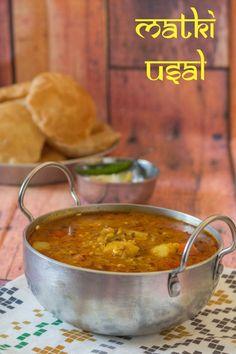 Matki Usal Recipe-Maharashtrian Matki Usal - Kali Mirch - by Smita Curry Recipes, Vegetarian Recipes, Cooking Recipes, Lentil Recipes, Vegetarian Lunch, Cooking Ideas, Veggie Recipes, Food Ideas, Indian Veg Recipes