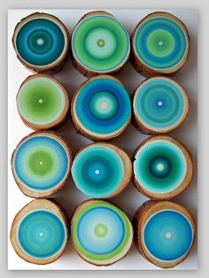 12 Large Tree Rings Amazing Colors by HeatherMontgomeryArt on Etsy, $195.00