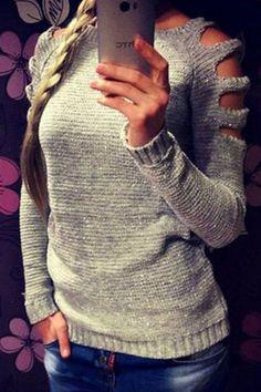 Cut-out Off Shoulder Knit Top