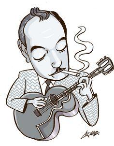 Django Reinhardt blaring on a cool morning, windows open. Music Illustration, Photo Illustration, Gypsy Guitar, Django Reinhardt, Gypsy Jazz, Old School Tattoo Designs, Mystique, Caricature, Music Artists