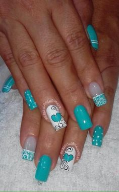 Me encanta esto para San Valentín pero con un color diferente. Me encanta esto para San Valentín pero con un color diferente. Me encanta esto para San Valentín pero con un color diferente. Cute Nail Art, Cute Acrylic Nails, Gel Nail Art, Cute Nails, Pretty Nails, Teal Nail Designs, Nail Polish Designs, Fabulous Nails, Gorgeous Nails