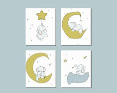 Elephant Nursery Art, Nursery Decor, Elephants Moon and Stars Art, Set Of 4 Prints, Kids Wall Art, Neutral Nursery, White Background