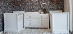 White modern cribs and a white modern dresser with ring pulls. Newport Cottages, Nursery Twins, Modern Baby Furniture, Kids Rooms Shared, Gold Nursery Decor, Cottage Furniture, Gold Baby Room, Baby Room Inspiration, Childrens Furniture