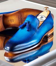 Paul Parkman Men's Tassel Loafer Blue - Shoes for men - Shoes Mens Tassel Loafers, Loafers Men, Blue Loafers, Burberry Men, Gucci Men, Hermes Men, Red Wing Shoes, Blue Shoes, Fashion Shoes