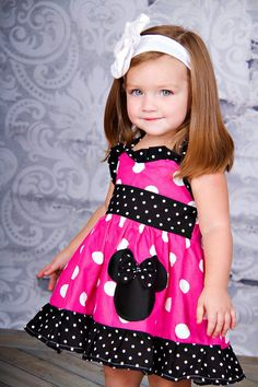 """Minnie Mouse Dress Halter Dress Hot Pink and Black and White Dots """"Sweetheart"""" 12M to 6Y"""