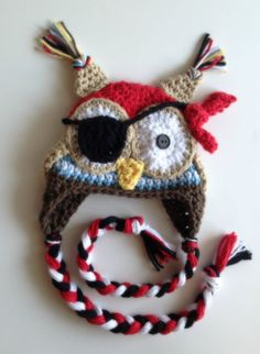 Crochet Pirate Owl Hat by PinkLemonKnits on Etsy--Very fun, wishing I could find a pattern for it!