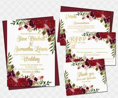 Marsala Wedding Invitation set Printable Boho Invite Suite floral red burgundy roses bouquet peonies RSVP details inserts Thank you cards ...............   ** This listing is for a digital Wedding Invitation Set. This set includes: a Wedding Invitation, a Thank You Card, a RSVP