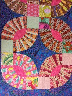 Quilt by Kris made in Kaffe Fassett fabrics. Wedding ring / pickle dish pattern by Material Obsession,  Posted by Longarm Chris (UK)