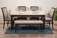 Bliss Marble Top 6 Seater Dining Table (Material: Rubber Wood + Stone | Colour: Beige + Brown)