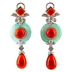 Mediterranean Red Coral Jade Carat White Diamond White Gold Drop Earrings For Sale at Peridot Earrings, Gold Drop Earrings, Beaded Earrings, Clip On Earrings, Diamond Earrings, Pandora Earrings, Coral Earrings, Indian Earrings, Diamond Jewellery