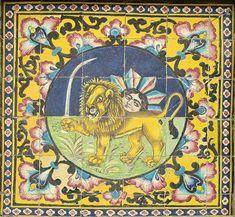 کاشی به نقش شیر و خورشید مربوط به دوره قاجاریه