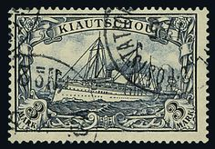 """German Post China Petschili 3 Mk. """"Kiautschou"""", item in outstanding quality with postmark """"K. D. Fieldpost station office no. 2.11 / 5"""". A very scarce, also i..."""