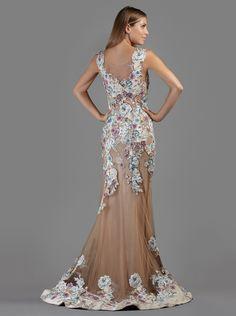 Long evening tulle dress with floral lace appliqués