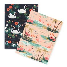 """Birds of a Feather Notebooks by Rifle Paper Co. -- Set of Rifle Paper Co. set of 2 full color """"Birds of a Feather"""" notebooks with lay flat binding. Both notebooks include 64 unlined pages with lay-flat binding for easy writing or sketching. Rifle Paper Company, Paris 3, Paper Birds, Pocket Notebook, Two Birds, Urban Outfitters, Japanese Embroidery, Foil Stamping, Bird Feathers"""
